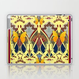 Decorative Yellow Art Nouveau Butterfly Maroon Designs Laptop & iPad Skin