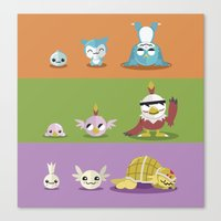 digimon Canvas Prints featuring Hey Digimon, hey Digimon!  by Sindorman