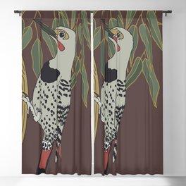 Flicker Bird and Botanical Illustration Art Series Blackout Curtain