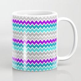Teal Turquoise Blue Purple Grey Gray Chevron  Coffee Mug