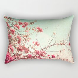 Pink Flowers on a Textured Blue Sky (Vintage Flower Photography) Rectangular Pillow