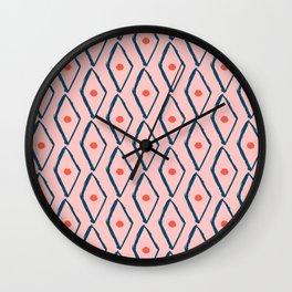 Pink Navy Diamond pattern Wall Clock