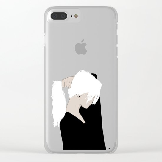 White Hair Beauty Clear iPhone Case