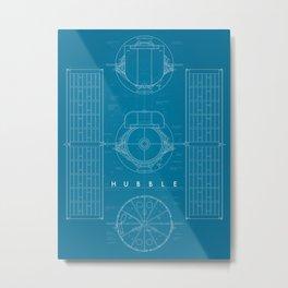 Hubble Space Telescope Blueprint - Blue Metal Print