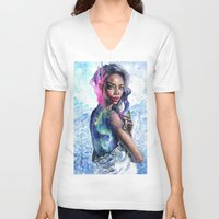 lights V-neck T-shirts featuring Northern Lights by Tanya Shatseva