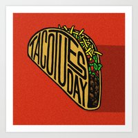 taco Art Prints featuring Taco Tuesday by Gracie Wilson
