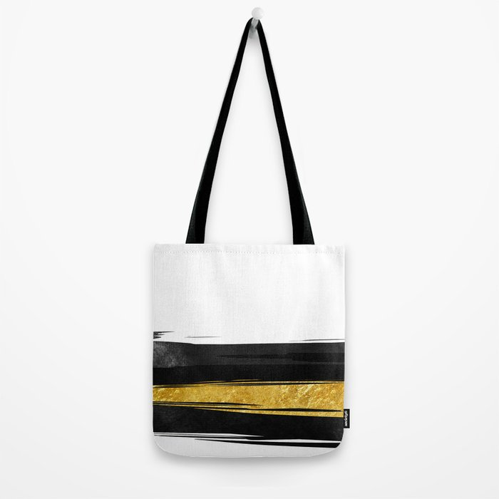 Gold and Black Stripes Tote Bag