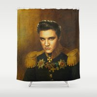 elvis presley Shower Curtains featuring Elvis Presley - replaceface by replaceface