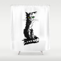 mad Shower Curtains featuring Mad Meow by Det Tidkun