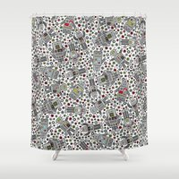 robots Shower Curtains featuring Retro Robots by robyriker