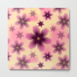Colorful floral pattern with exotic tropical purple flowers.  Metal Print