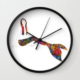 Golden Flower Mermaid Wall Clock