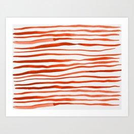 Irregular watercolor lines - orange Art Print
