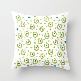Irish Lucky Magnets Pattern Throw Pillow