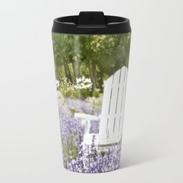 White Chair in a Field of Purple Lavender Flowers Travel Mug