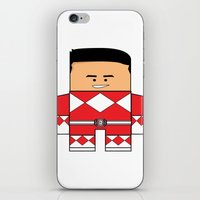 power rangers iPhone & iPod Skins featuring Mighty Morphin Power Rangers - The Original Red Ranger Unmasked (Jason) by Choo Koon Designs