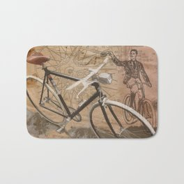 vintage bicycle hipster Bath Mat
