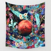 mars Wall Tapestries featuring MARS&WATER by Burcu Korkmazyurek