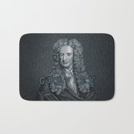 Gravity / Vintage portrait of Sir Isaac Newton Bath Mat