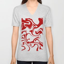 Holiday Red Liquid Marble Effect Pattern Unisex V-Neck