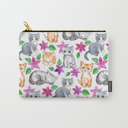 Kittens and Clematis - white Carry-All Pouch