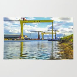 The Cranes of Belfast, Ireland. (Painting) Rug