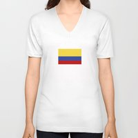 colombia V-neck T-shirts featuring colombia country flag by tony tudor
