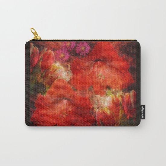 Floral impressionism in passionated red Carry-All Pouch