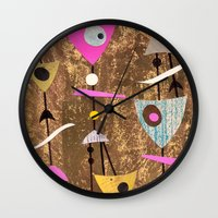 50s Wall Clocks featuring Retro Fantasy 50s Brown Pink by Beatrice Roberts