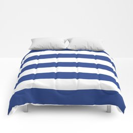 Dark cornflower blue - solid color - white stripes pattern Comforters