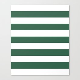 Poker Green - solid color - white stripes pattern Canvas Print