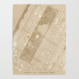 Vintage map of Manhattan Central park in sepia Poster