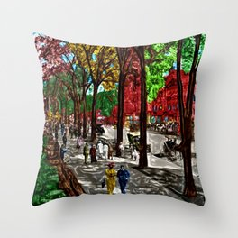 'Saturday on Broadway with George' Landscape by Jeanpaul Ferro Throw Pillow