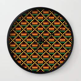Green, Dark Red, Yellow Gold Kente Cloth on Black Wall Clock