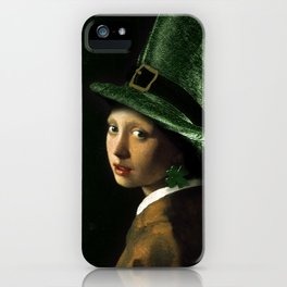 Girl With A Shamrock Earring iPhone Case