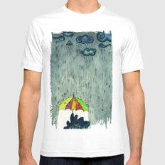Oh! Raining Night Mens Fitted Tee MEDIUM White