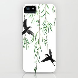 green willow leaf and swallow watercolor iPhone Case