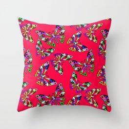 Butterflies, scarlet Throw Pillow