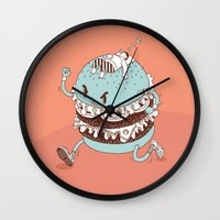 burger Wall Clocks featuring Burger by BIGMOUTH