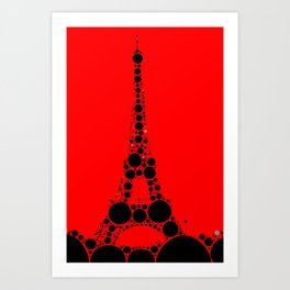 """Eiffel Tower Red Background - from """"Further Back"""" series Art Print"""