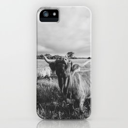 Black and White Highland Cow - Moo iPhone Case