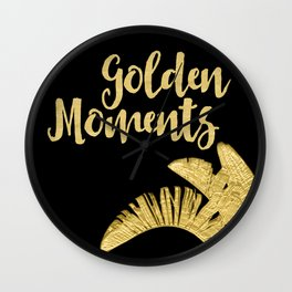 Golden Moments Glamorous Typography And Tropical Leaf Wall Clock