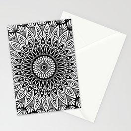 Sacred Lotus Black and White Mandala - LaurensColour Stationery Cards
