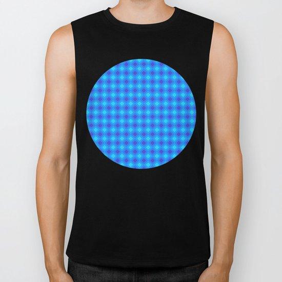 Dark Blue Cubes - Geometric Work Biker Tank