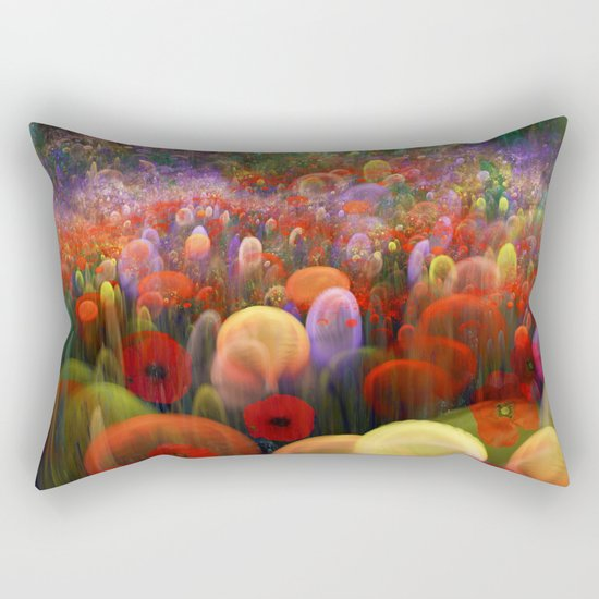 Dreamscape with poppies and orbs Rectangular Pillow
