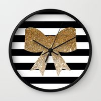 bows Wall Clocks featuring Golden Bows by Pink Berry Patterns