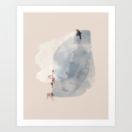 Abstract watercolor urban landscape blue Art Print