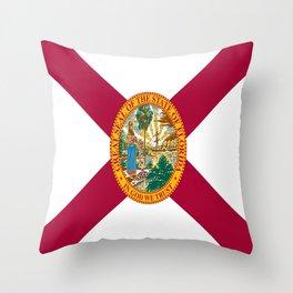 Flag of Florida-floridian,floridan,Miami,Tempa,Orlando,hispanic,beach,sun,jacksonville,holidays,warm Throw Pillow