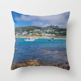 Boats Anchored At The Rocky Shore Throw Pillow