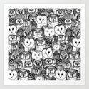 just owls black white by sharonturner